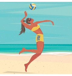Girl playing with a ball at the sea vector image vector image