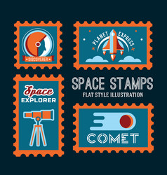 post stamp with rocket in the space and flat stamp vector image