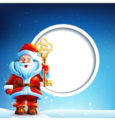 Santa Claus in the snow with a thumbs up and vector image