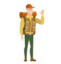 young caucasian traveler waving his hand vector image