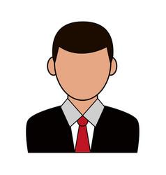 Color silhouette cartoon half body faceless man vector