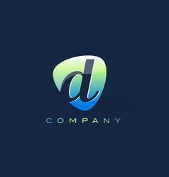 d letter logo oval shape modern design vector image vector image
