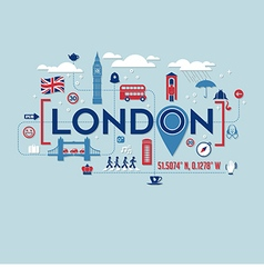 London icons and typography design vector image