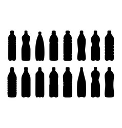 set of silhouettes of water bottles vector image vector image