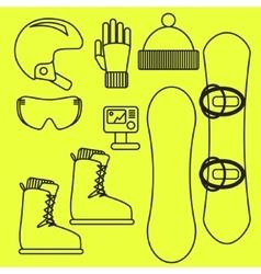 Snowboard gear line icon set vector image