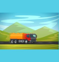 tank truck long vehicle flat design vector image vector image