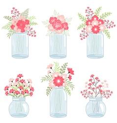 Wedding Pink Flowers In Mason Jars vector image