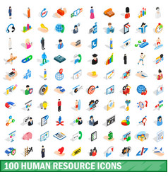 100 human resource icons set isometric 3d style vector