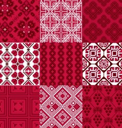 9 retro seamless ornaments vector image