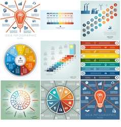 9 templates Infographics business conceptual vector image