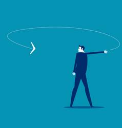 A businessman looking at boomerang coming his vector