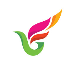 abstract colored bird - logo template vector image