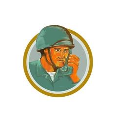 American Soldier Serviceman Calling Radio vector
