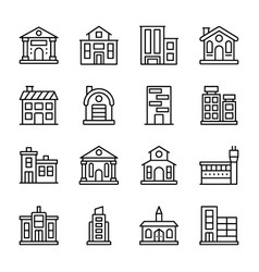 architectures line icons vector image