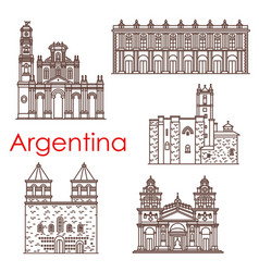 argentina landmarks famous buildings icons vector image