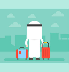 Back side arab business man and luggage vector