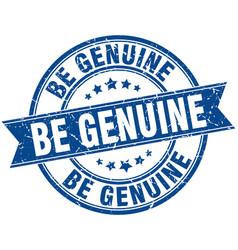 be genuine round grunge ribbon stamp vector image vector image