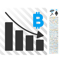 Bitcoin recession bar chart flat icon with bonus vector