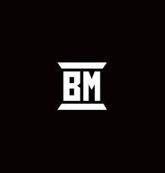 Bm logo monogram with pillar shape designs vector