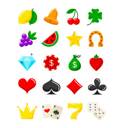 Bright casino flat icons slot-machine symbols vector