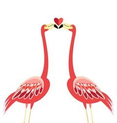 Bright greeting card with a flamingo lovers kiss vector image