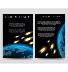 Brochure flyers with meteor shower vector