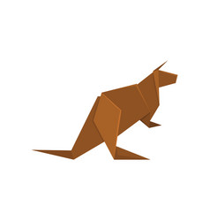 Brown kangaroo origami paper animal vector