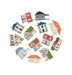 cartoon houses exterior round design template ad vector image