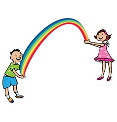 children and rainbow vector image