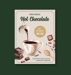 Chocolate poster design with hot drink vector