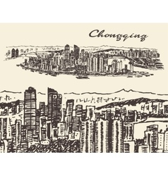 Chongqing hand drawn sketch vector image