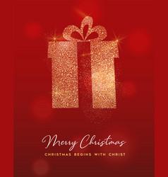 christmas gold glitter gift box greeting card vector image