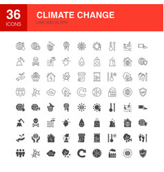 climate change line web glyph icons vector image