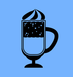 coffee cocktail icon on blue background vector image