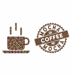 Coffee collage coffee mug with textured mocha vector