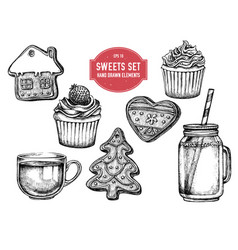 collection of hand drawn black and white vector image