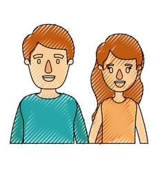 color crayon stripe caricature half body couple vector image