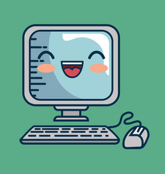 Computer desktop character handmade drawn vector
