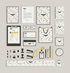 Corporate identity design template with memphis vector