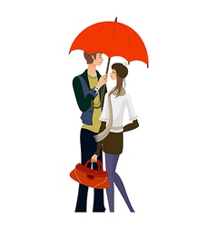 Couple standing under one umbrella vector