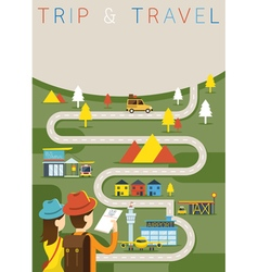 Couple Tourist Plan Traveling Route vector image
