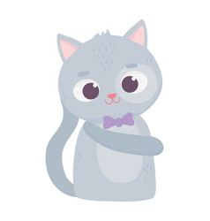 cute animal cat with bow tie cartoon character vector image