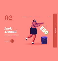 Egoism landing page template female character get vector