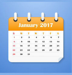 European calendar for january 2017 vector