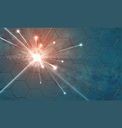 Explosion on a background with hexagons vector