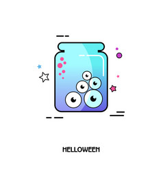 Eye glass jar icon halloween sticker vector