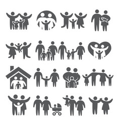family icons set on white background vector image