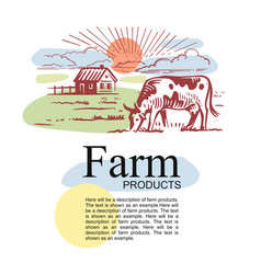 farm with cow and text with color template vector image