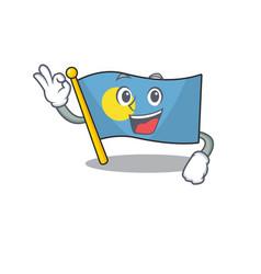 Flag palau scroll mascot design making an okay vector