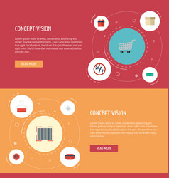 flat icons present payment support and other vector image